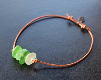 Beach / Sea Glass adjustable Bracelet on Leather Cord, with DOlphin Charm