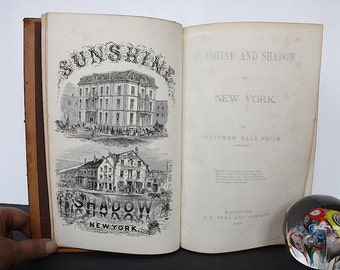 Sunshine and Shadow in New York - Antique Book - Prints New York City History - New York City Gift - Vintage New York City Decor -