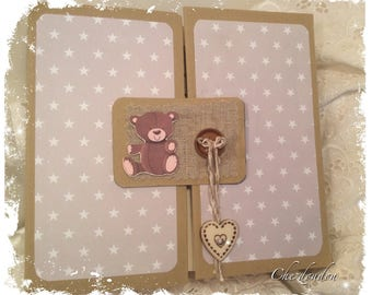 Album birth or guestbook ecru taupe theme Teddy multipochettes 12 pages
