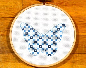 easy cross stitch pattern patchwork butterfly, PDF *instant download*