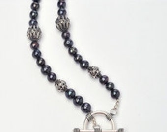 Extra-Long Blue-Black Baroque Pearl Necklace
