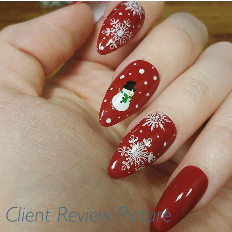 Snowman Fake Nails * Faux Nails * Glue On Nails * Red Nails ...