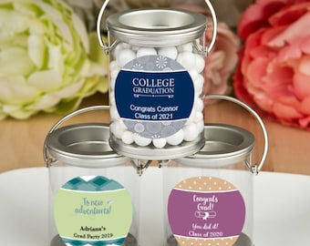 50 Personalized Graduation Silver Mini Paint Can - Set of 50