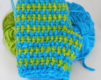 Crochet Fingerless Gloves, Blue & Green