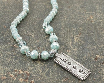 Hope Jewelry Silver Turquoise Hope Necklace Bohemian Inspirational Jewelry