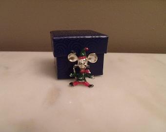 Vintage, BJ Beatrix Chris Mouse Pin, Christmas mouse brooch