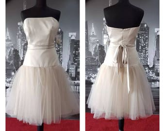 SALE, Champagne wedding dress, Tea Length wedding dress, Bridesmaid dress, Tutu dress, Short Wedding Dress, Short Bridesmaid dress, Prom,