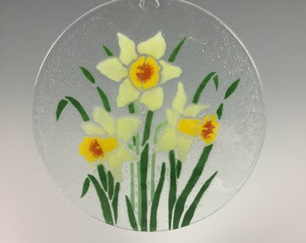 Daffodil Suncatcher, Fused Glass Sun catcher, Narcissus, Yellow Flowers, Flower Window Hanging