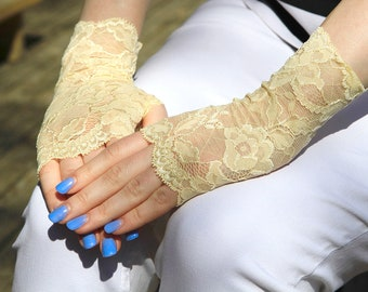 Stretch Lace Gloves in Light Yellow , stretch lace, fingerless lace gloves, Bride, bridesmaid, gift for her.  Ready to ship.