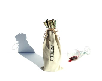 Wine gift bag, Cheers, fall bag, wine sleeve bag, BYOB, wine carry bag, wine bottle tote bag, Autumn