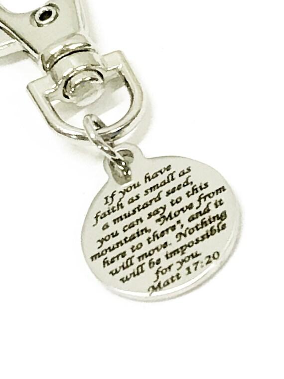 Christian Gifts, Mustard Seed Verse Zipper Pull, Matthew 17 20 Charm, Bag Charm, Purse Charm, Christian Charm, Bible Verse Charm