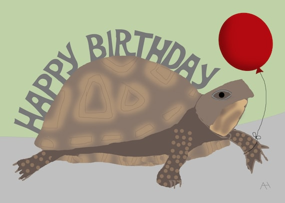 Turtle holding a balloon happy birthday card turtle holding a balloon happy birthday card bookmarktalkfo Images