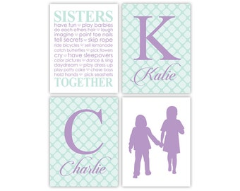 Personalized sisters wall art | sisters silhouettes | purple and mint nursery decor | twin girls room decor | baby shower gift girls