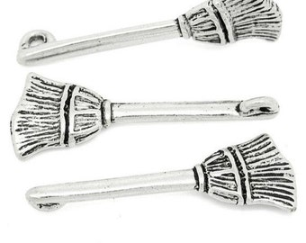 Silver Broom Charms Witch's Broom Halloween Charm 4/10/20 4097