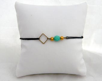 square bracelet and Pearl blue green