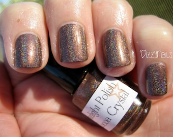 Cocoa Crystal Brown Holographic Nail Lacquer Holo Custom Indie Starlight and Sparkles Polish