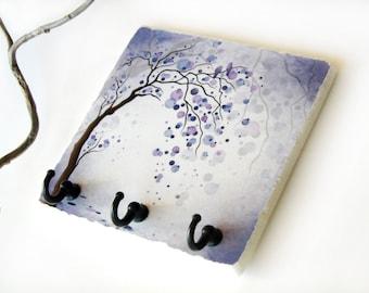Purple Decor Tree Art Key Rack,  Colorful Circle Key Holder, Key Hook Hanger, Love Birds, Home Wall Organizer (10)