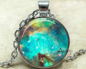 Large Magellanic Cloud galaxy art pendant, nebula necklace, galaxy necklace, space jewelry,  galaxy jewelry, galaxy pendant, Pendant #SP187P