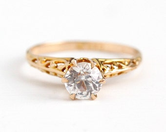 Sale - Filigree Engagement Ring - Created White Sapphire 10k Yellow Gold - Vintage Size 8 Alternative Colorless Fine Vine Jewelry 1.07 Carat