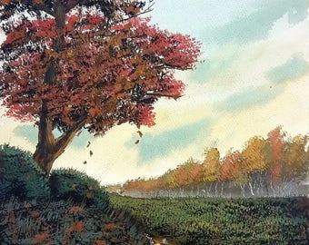 Gouache Landscape Painting Print 16x20