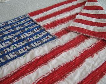 Flag Rag Quilt / Flag Wall Hanging / Cat Flag Quilt / Red White Blue Rag Quilt / Flag Quilt