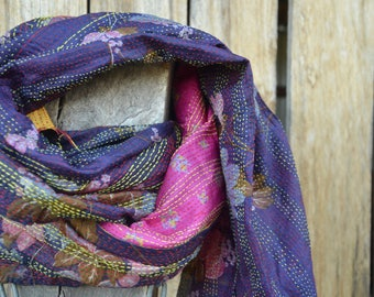 Vintage silk kantha throw Indian sari scarf purple pink patterned shawl table cloth ethnic material double layer tribal boho