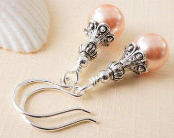 Peach shell pearl earrings, apricot pearl earrings, ethnic style shell pearl earrings, pretty pearls with handmade sterling silver ear wires