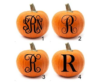 Pumpkin Decal, Pumpkin Decor, Halloween Decal, Pumpkin Monogram Sticker, Fall Decal, Fall Porch Decor, Pumpkin Initial Decal,