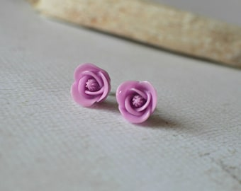 Purple Flower Earrings- Rose Earring Posts- Lilac Purple Studs- Titanium Earrings- Titanium Flower Studs- Contains No Nickle- Hypoallergenic