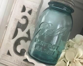 "Vintage Ball Perfect Mason Jar  ""Aqua"""