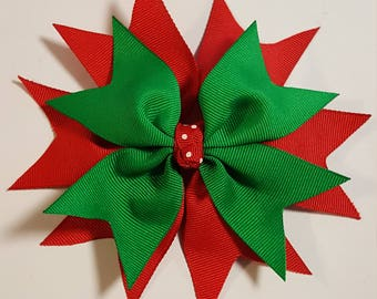 Red and green spike bow Christmas bow holiday bow adult bow girl bow