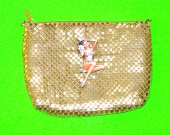 Pinup Girl Bathing Gold Metal Mesh Retro Vintage Refurbished One of a Kind Rockabella Handbag Zippered Clutch Purse