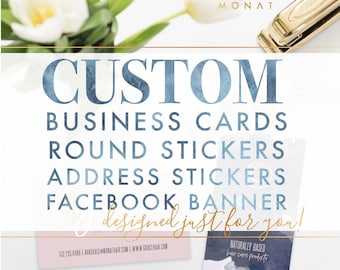 BUNDLE: Custom Business Cards + Round Stickers + Address Stickers +  Facebook Banner by Ash Print House