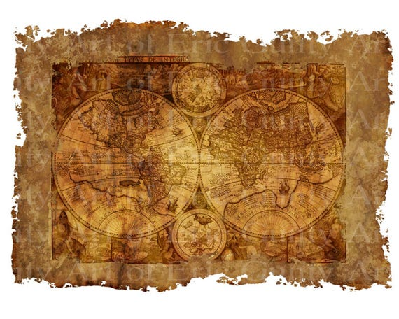 Old World Pirate Map Birthday - Edible Cake and Cupcake Topper For Birthday's and Parties! - D22914