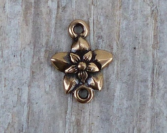 Flower Charm or Link, Red Bronze, Artisan, Hand Carved, Lost Wax Cast, Nature, CH11B