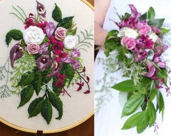 "6"" Custom Embroidered Wedding Bouquet Portrait"