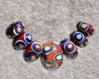 BARROS Set(7) Handmade Art Glass Beads Flaming Fools Lampwork Art Glass SRA