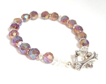 Purple Czech glass bead bracelet with clear Austrian crystals