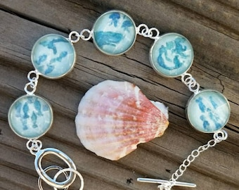 Mermaid Bracelet hand painted in watercolor, teal and silver nautical bracelet with ocean creatures- whale, jellyfish, fish, turquoise