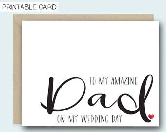 PRINTABLE CARD | Wedding Day Card | On My Wedding Day | Wedding Card | To My Dad Card | Dad Wedding Card | Wedding Printable | Card For Dad