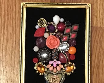 Framed Jewelry Art. Unique vintage and costume jewelry in a 3D design.