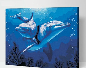 Dolphins Painting DIY Painting Kit Paint By Numbers Kit DIY Oil Painting On Canvas Gifts Wall Art Handmade Gift Blue Painting Craft Kit
