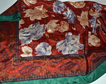 Vintage 1950's Scarf Roses Paisley Border   30 inch Sq