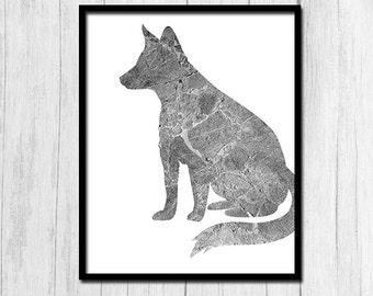 Fox Poster Printable Art Fox Print Digital Download Fox Wall Art Woodland Creatures Printables Forest Animal Printables Woodland Prints
