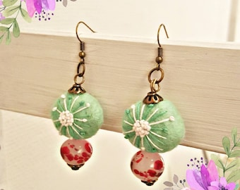 Cute glass and wool earrings! Lampwork, felted bead, boho, hippie