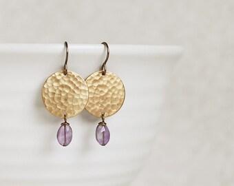 Chandra Earrings - AMETHYST hammered gold disk earrings