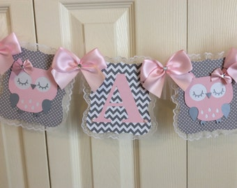Owl baby shower banner/It's A Girl baby shower banner/Pink and grey chevron baby shower banner/