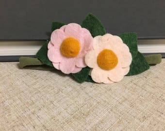 Felt Flower Daisy Headband Bookmark or Planner Band Pale Coral and Pale Pink