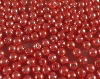 100 x 4mm orange glass pearl beads