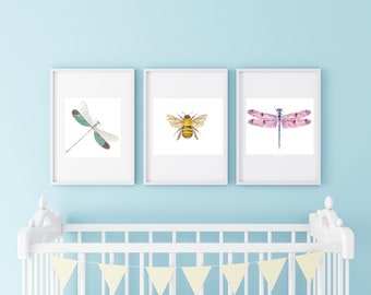 INSECT NURSERY WATERCOLORS-set of 3 insect nursery watercolors paintings art prints, dragonflies and bumblebee watercolor art prints
